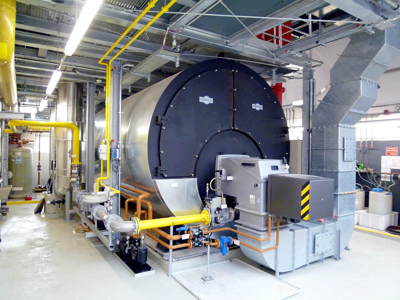 Heizkraftwerk, Heißwasserkessel 10 MW im Heizkraftwerk