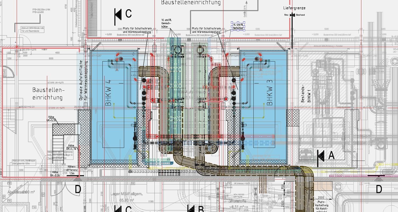 Plan, Energiezentrale, Leistungen, Tätigkeitsbereiche